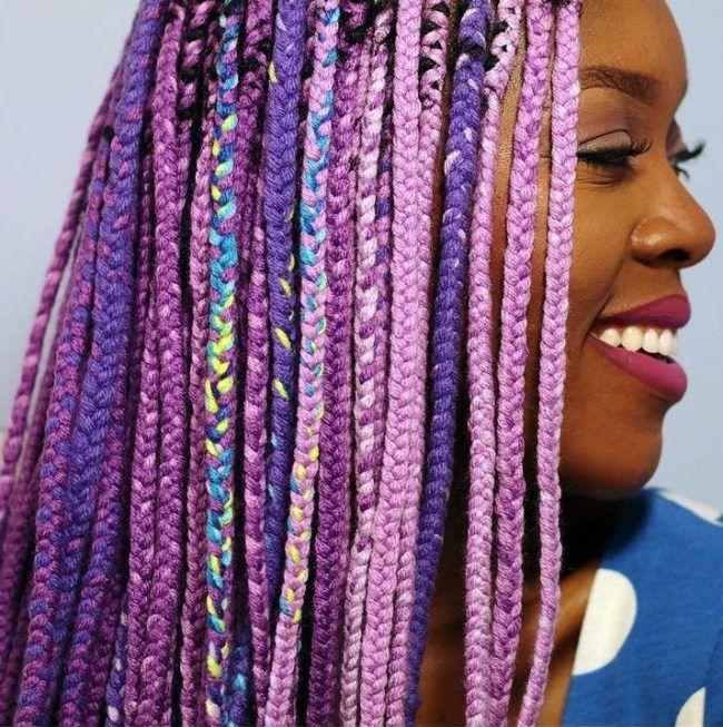 Purple Yarn Braids
