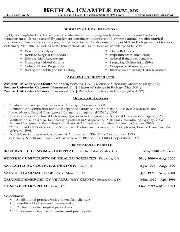 CONFUSEDSKY Example Of Veterinary Resume