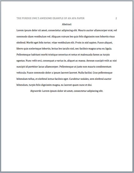 Abstract Essay Example Purdue Owl Apa Headings Literature Review