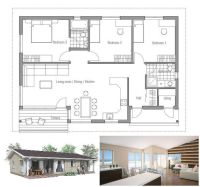 Small house plan, affordable to build, three bedrooms