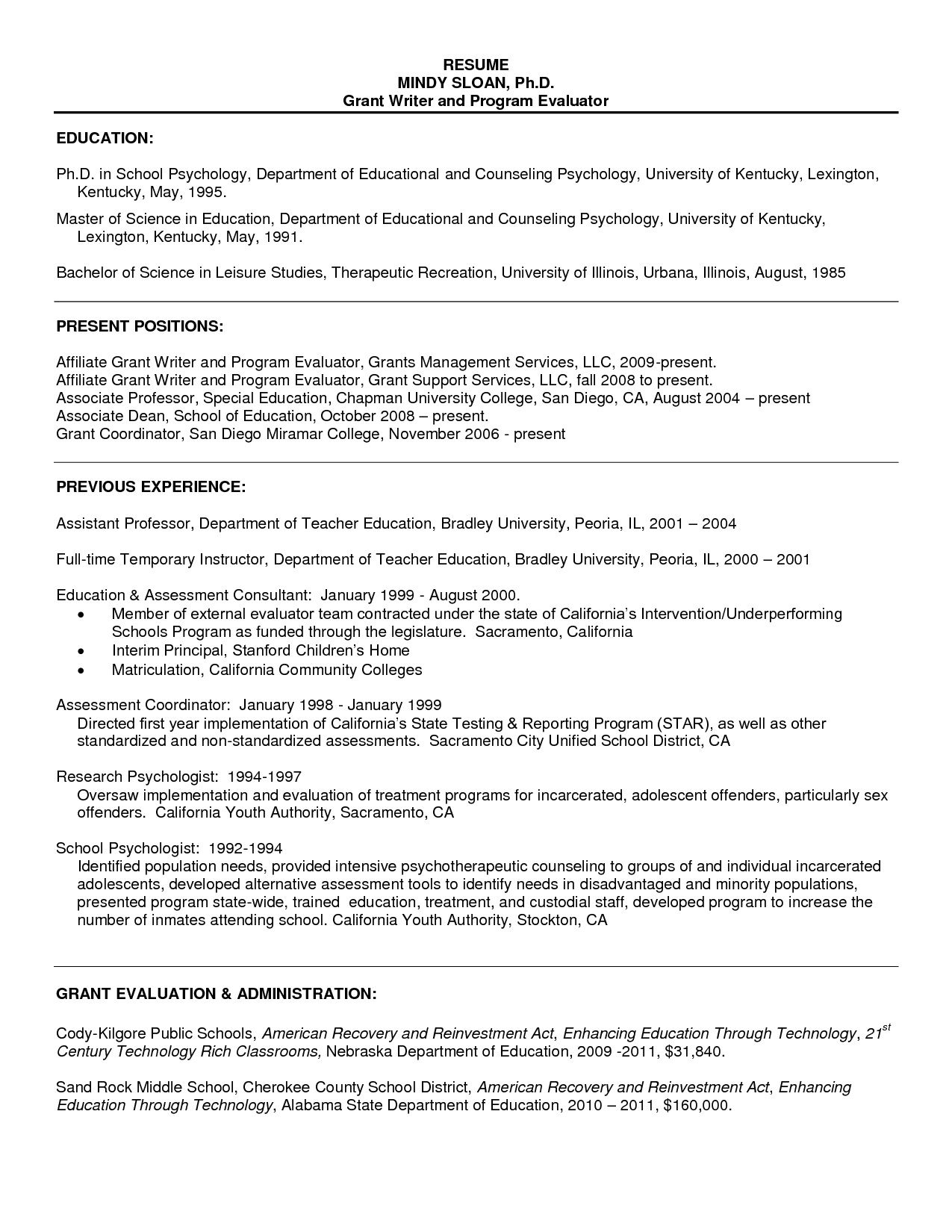 Graduate School Resume Sample Resume For Psychology Graduate Http
