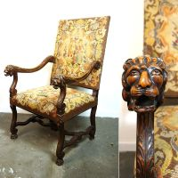 Antique Carved Lion Head Needlepoint Throne / Carved