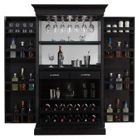 American Ashley Heights Black Stain Home Bar Wine Cabinet ...