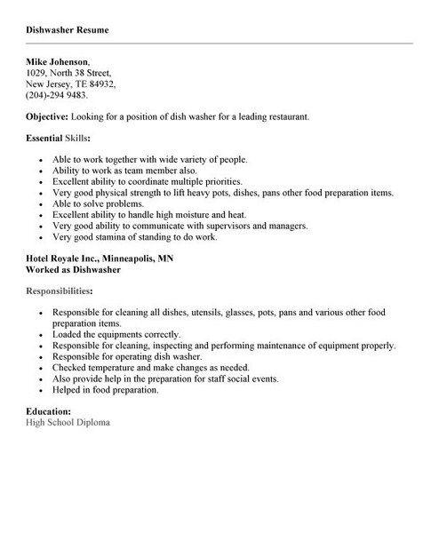 Dishwasher Job Resume Example Topresume Info Dishwasher