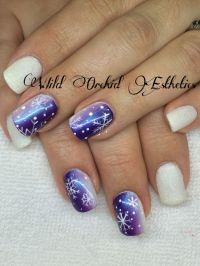 Ombr. Fade. Purple and opal fade. Snowflakes. Christmas ...