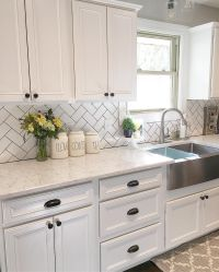 White kitchen, kitchen decor, subway tile, herringbone ...