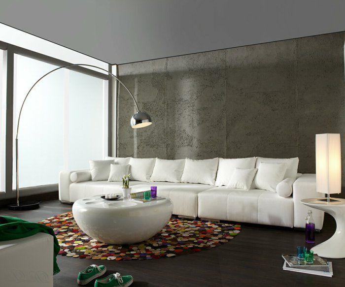 Wohnzimmer Modern Eingerichtet Einfarbiger Teppich Hellblau Keine ... Wohnzimmer Modern Eingerichtet