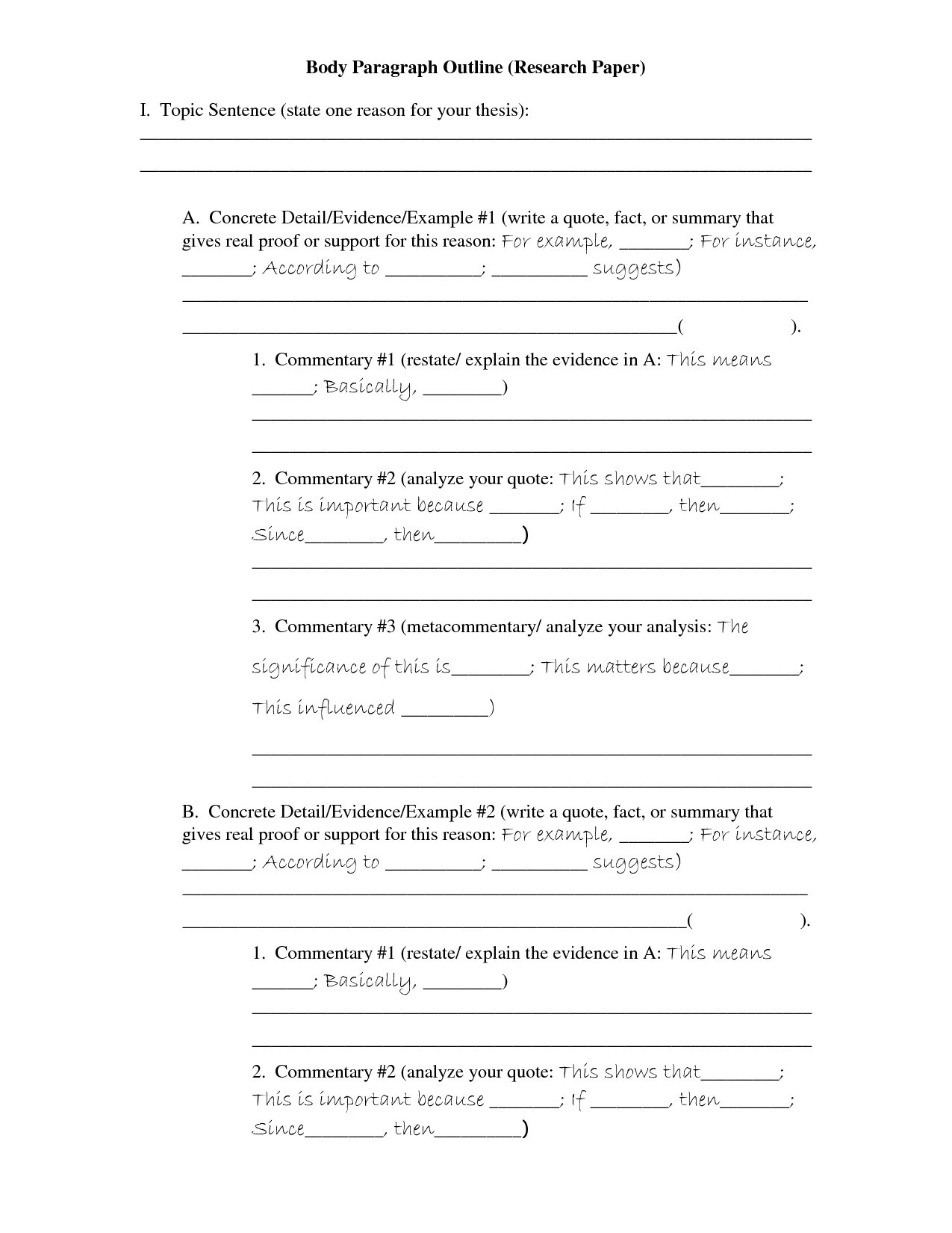 Research Paper Body Paragraph Outline