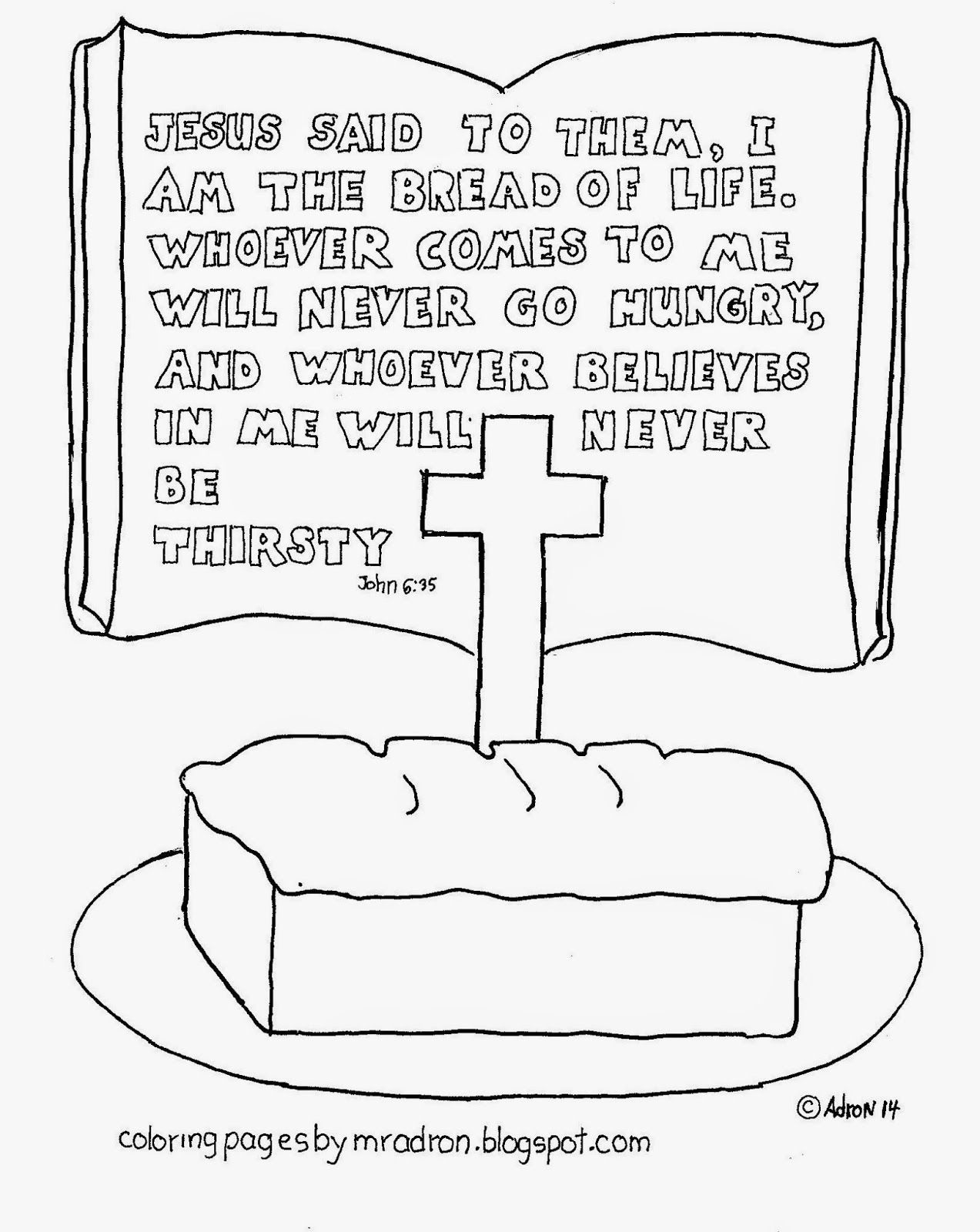 Coloring Pages For Kids By Mr Adron I Am The Bread Of Life Free Coloring Page