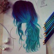 drawn blue and green hair rainbow