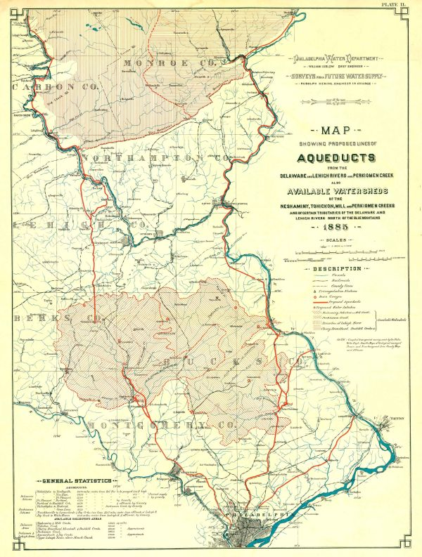 Map showing proposed lines of aqueducts from the Delaware
