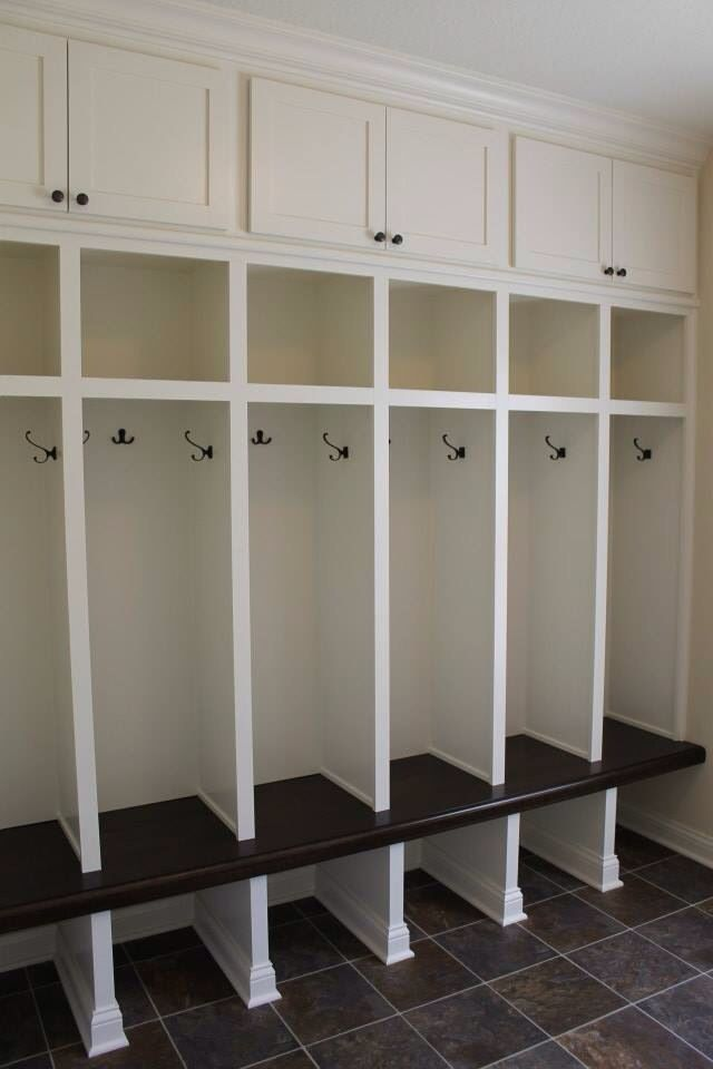 Custom built mudroom lockers with upper cabinets solid