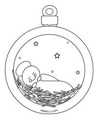 Pallina di Natale con bambinello | Christmas Drawings ...