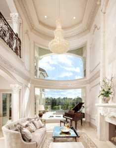 The decorations might be  little too over top but  love high ceilings and baby grand piano also my kind of light home ideas pinterest lights interiors house rh za