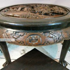 Antique Chinese Dragon Chair Kids Outdoor Carved | Hand Wood Tea, Coffee Table With 4 Matching ...