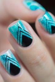 nail art teal sponging black stamping 05