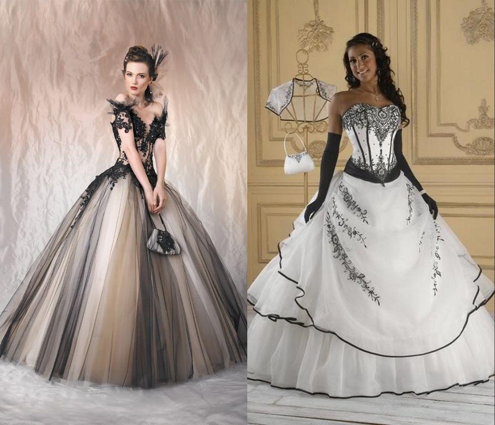 Hochzeitskleid Schwarz Weiß Kleid Abendkleid Stickerei Lager 34 36