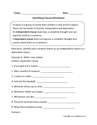 Identifying Clauses Worksheet | Worksheets | Pinterest ...