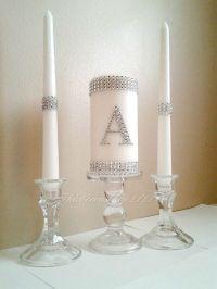 Unity Candle Set Silver Bling Monogram Wedding White Unity ...
