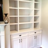 Close up of built-in shelves done by Woods Cabinets LLC ...