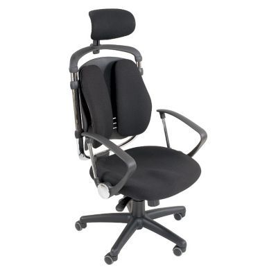 ergonomic chair grainger job lot folding wooden chairs spine align fabric high back with headrest office modern black