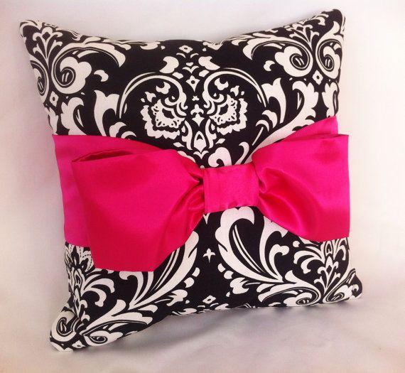 Decorative Pillow Black White Damask Hot Pink By Leahashleyokc 50 00