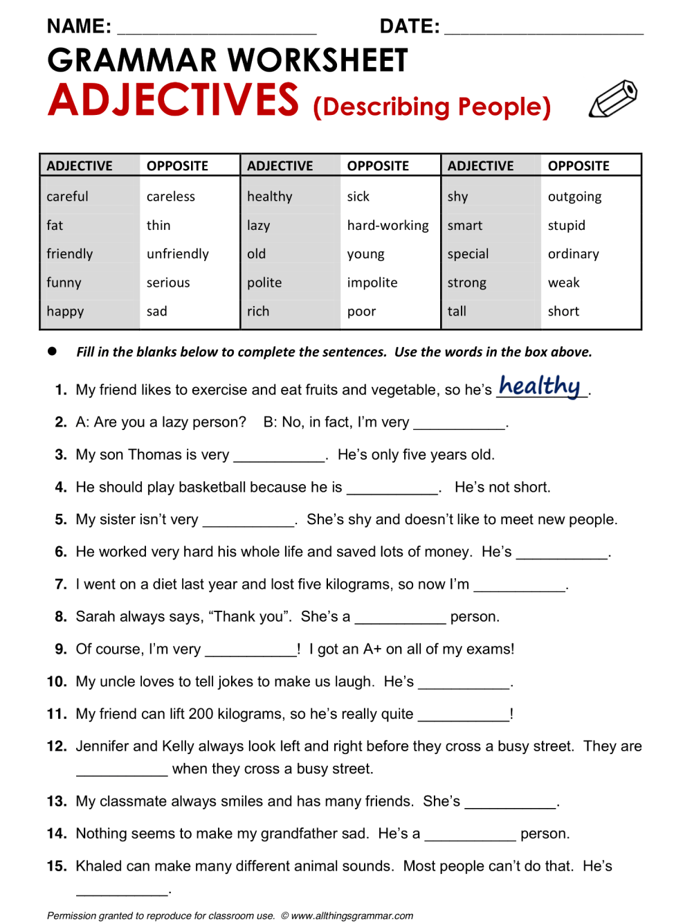 medium resolution of Year 7 English Worksheets With Answers