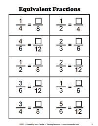 Equivalent Fractions Worksheet 6th Grade