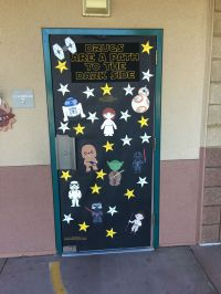 Red ribbon week, Star Wars themed door, black background ...