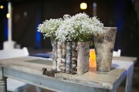 Birch bark wood vases wedding table decor flower pot ...