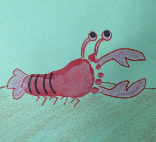 Lobster Infant Foot Art