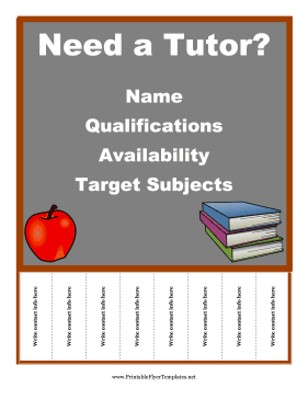 The Background Of This Free Printable Tutoring Flyer Is A