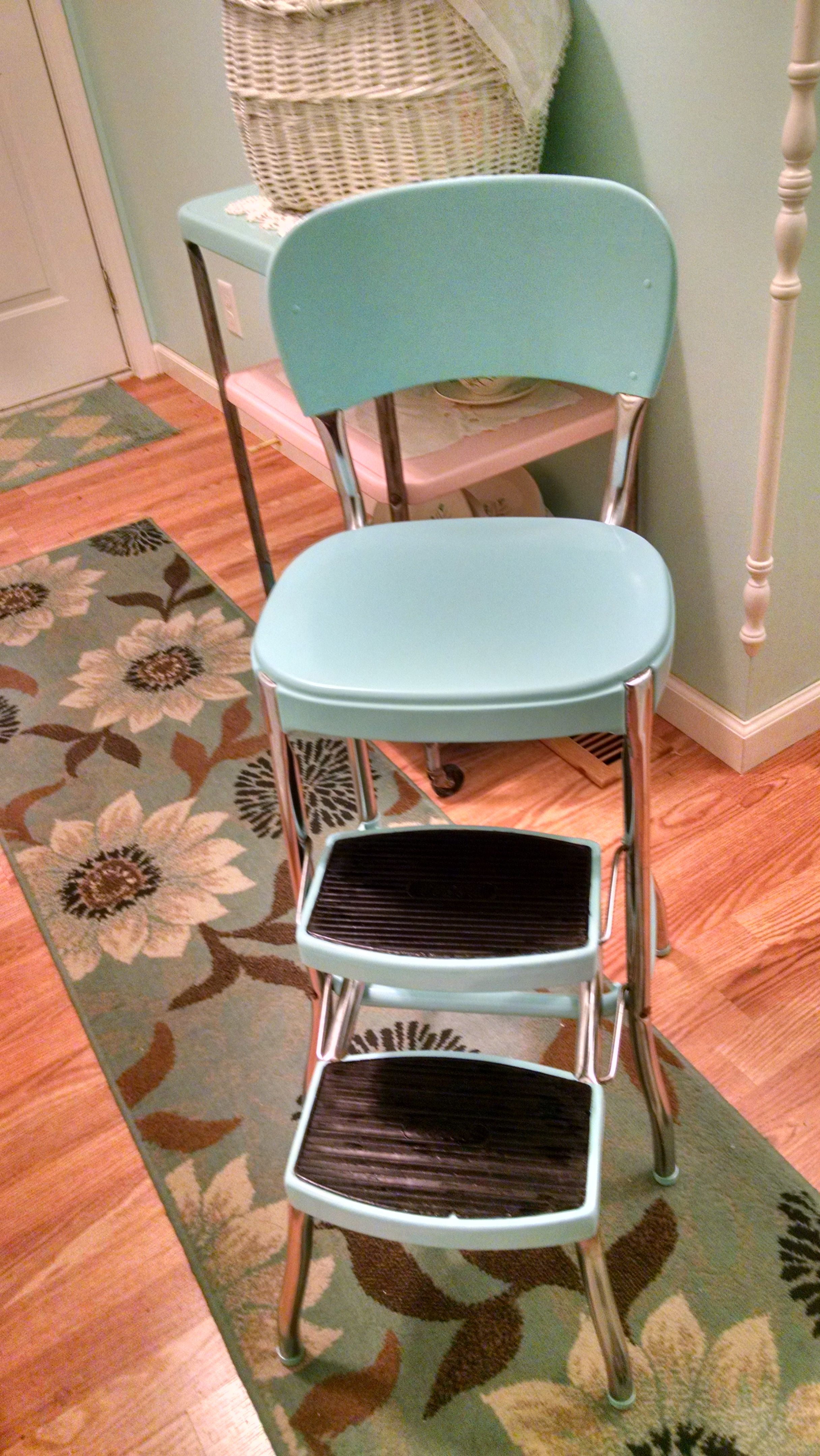 kitchen step stool lights over island old cosco made new again vintage aqua makeover