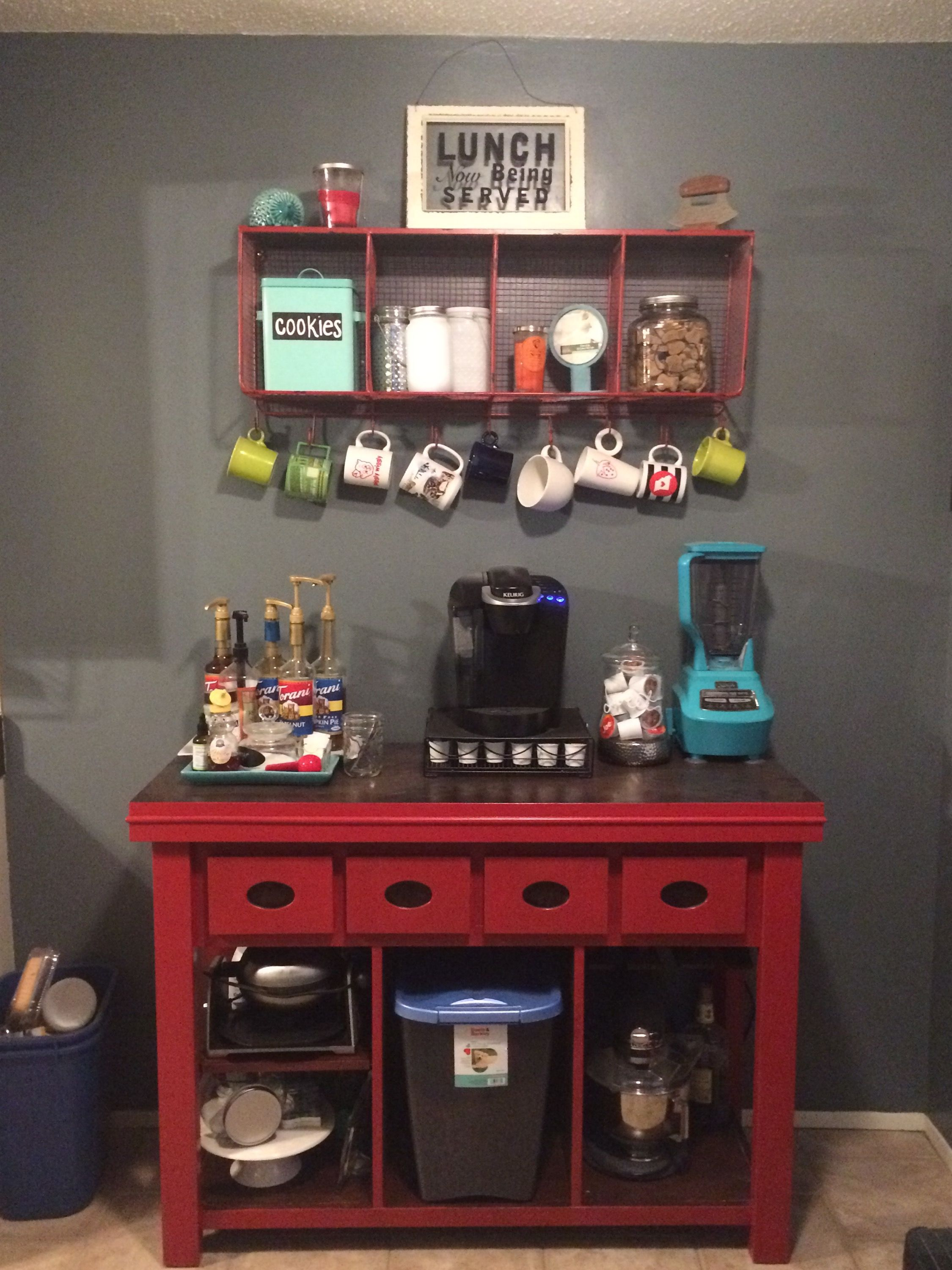 coffee bar in kitchen wall mount faucet jean anne at home red furniture redo