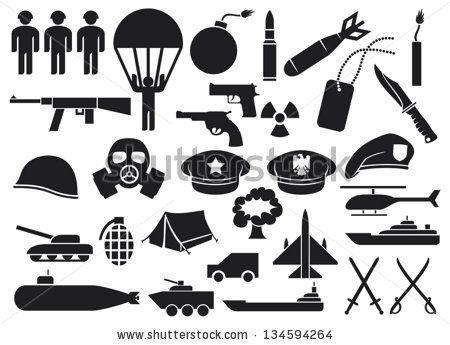 military icons (knife, handgun, bomb, bullet, gas mask