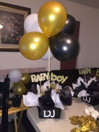 Black And gold babyshower centerpieces | Black and white ...