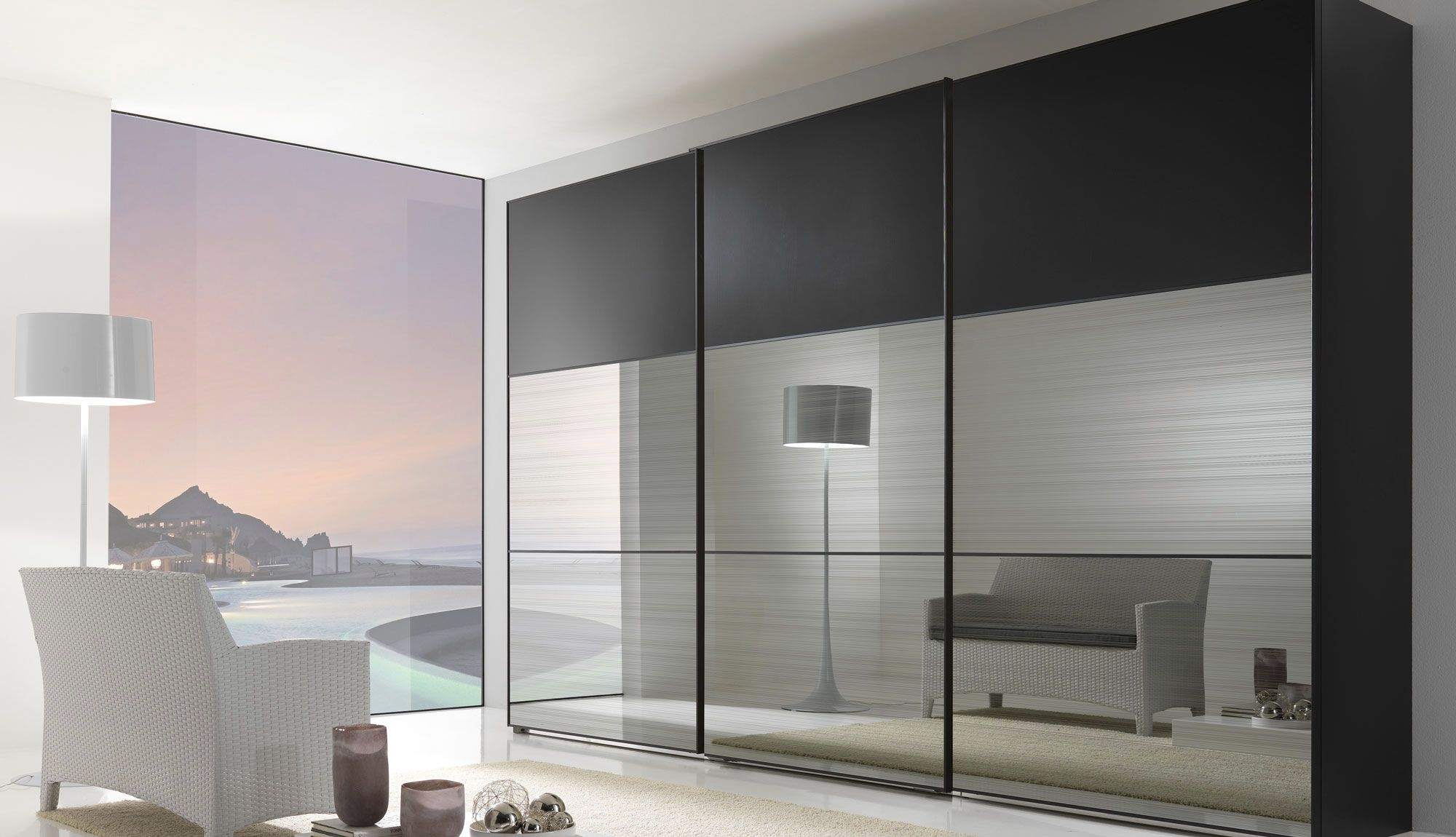 Modern Mirror Sliding Wardrobe Closet Door With Three
