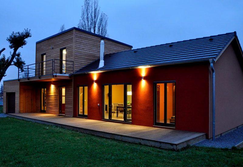 Maison Ossature Bois M Bardage Meleze Et Enduit Wood House