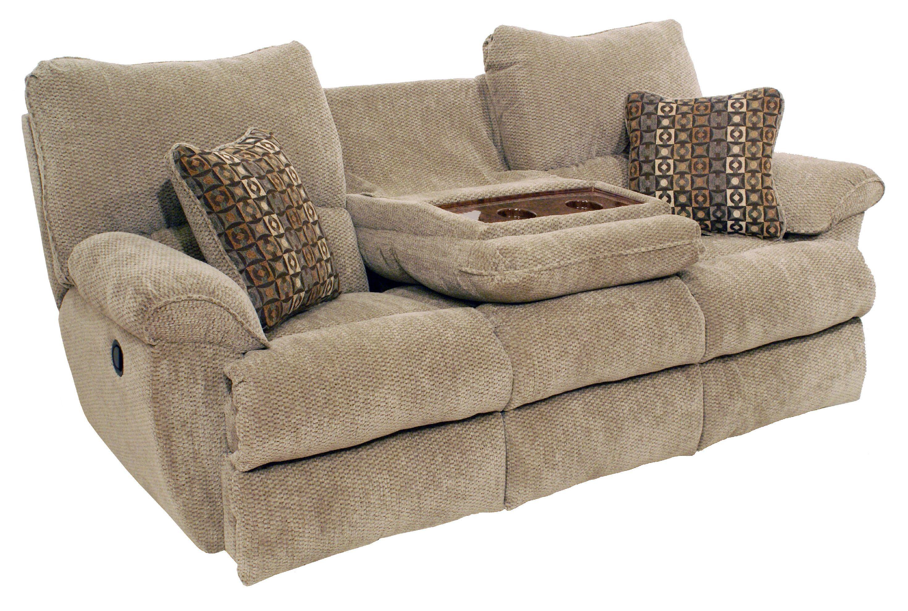 microfiber reclining sofa with drop down table ethan allen bennett sleeper loveseat room