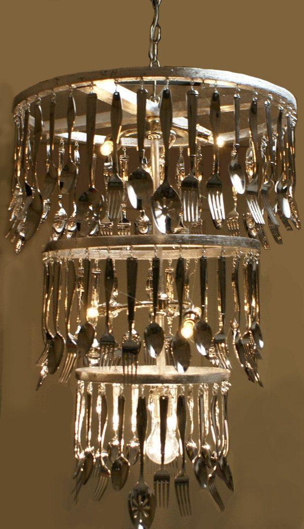 Chandelier At Dining Nook Custom Made To Order Silverware 325 00 Via Etsy