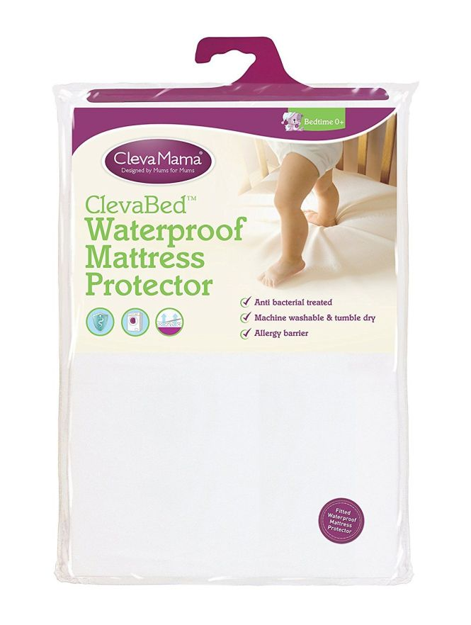 Clevamama Waterproof Mattress Protector Cot Bed 70x140 Cm Ed Brushed Cotton