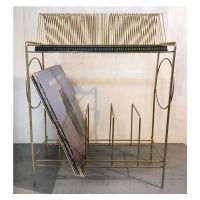 vintage record rack - mid century brass two level record ...