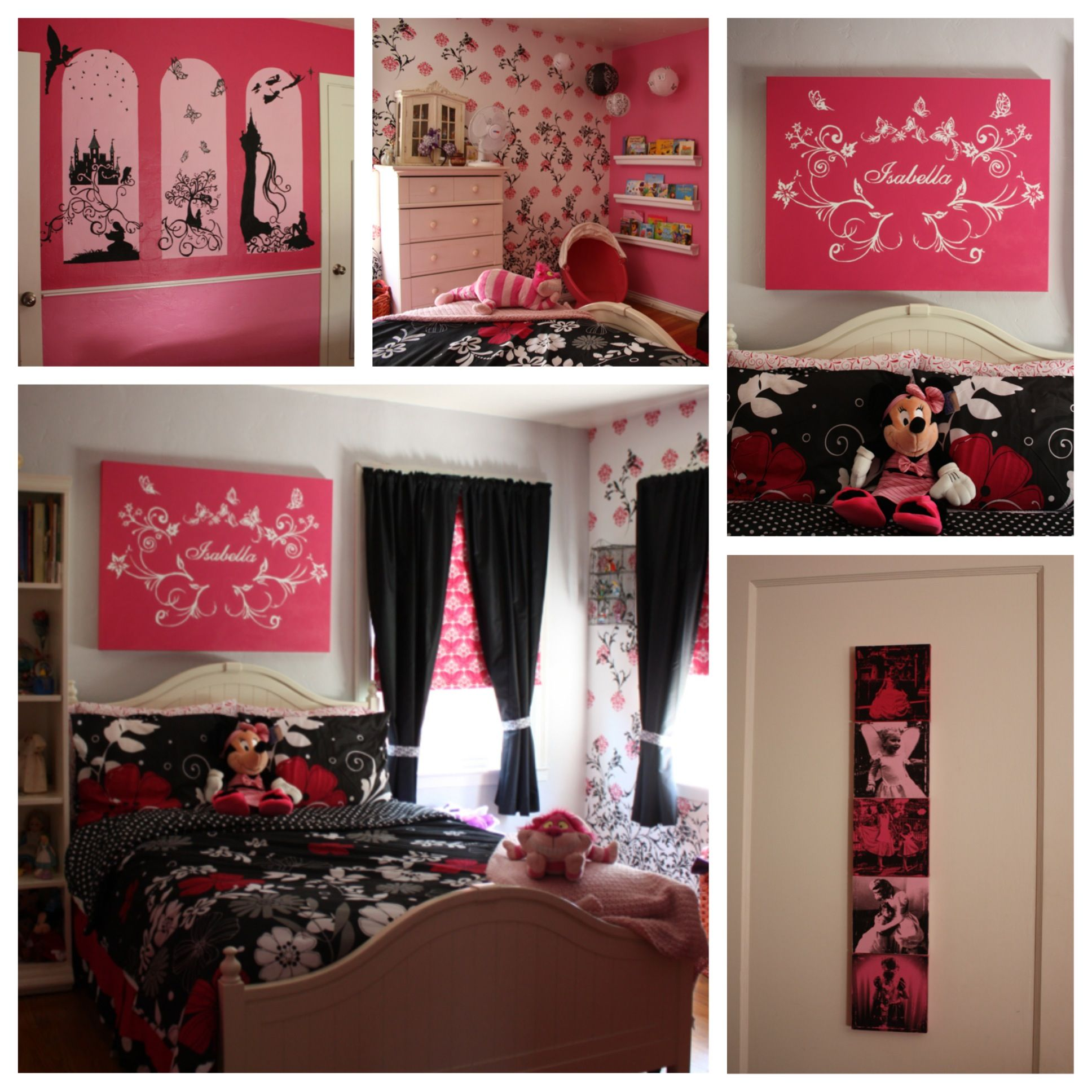 The Completed Bedroom Pink And Black Disney Themed Diy