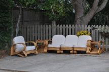 Vintage Beverly Hills Rattan Furniture With End