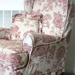 Red Wingback Chair Slipcover Wwe Tables Ladders And Chairs Toys Toile Wing Twill Studio