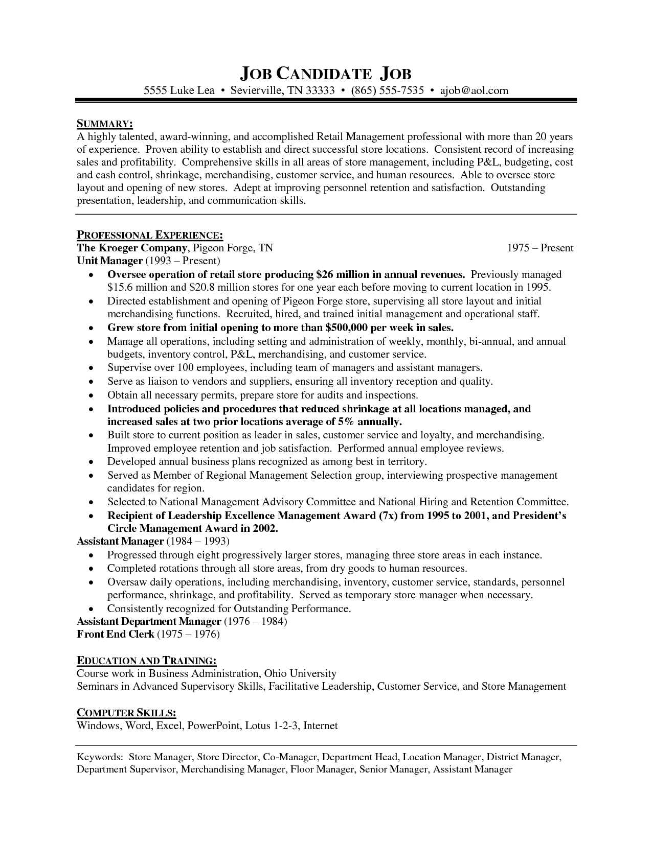 Grocery Store Manager Resume Example - Examples of Resumes