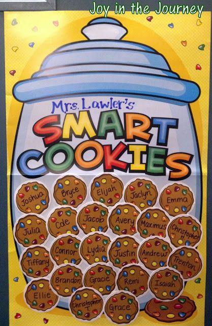 A classroom door that celebrates it's smart cookies is an