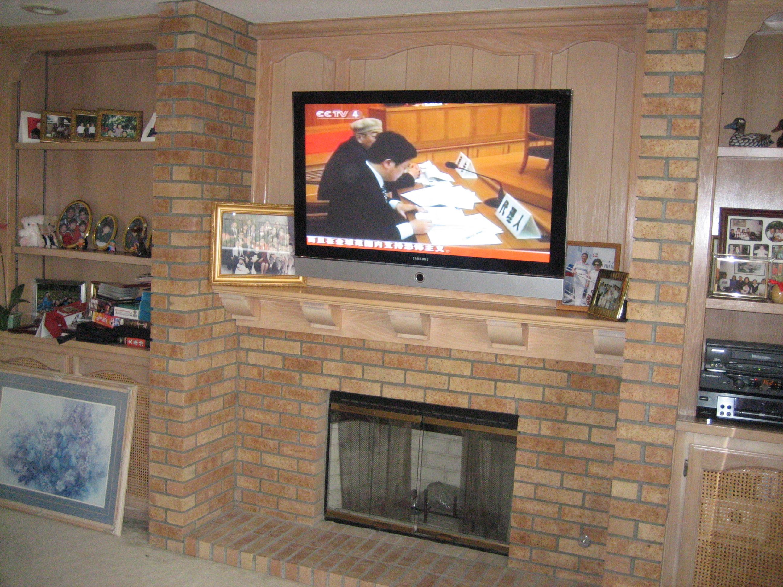 add a 60 TV over a Brick Fireplace  TV INSTALLATION COST 99 17146252531  TV above