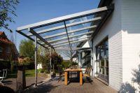 Slanted aluminum patio cover design with windows ...