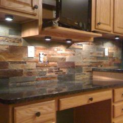 Pictures Of Granite Kitchen Countertops And Backsplashes Period Cabinets This Natural Slate Tile Backsplash Is Shown With Uba Tuba